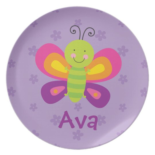 Colourful Butterfly Personalised Melamine Plate