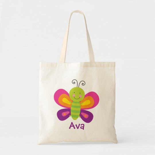 Colourful Butterfly Personalised Tote Bag