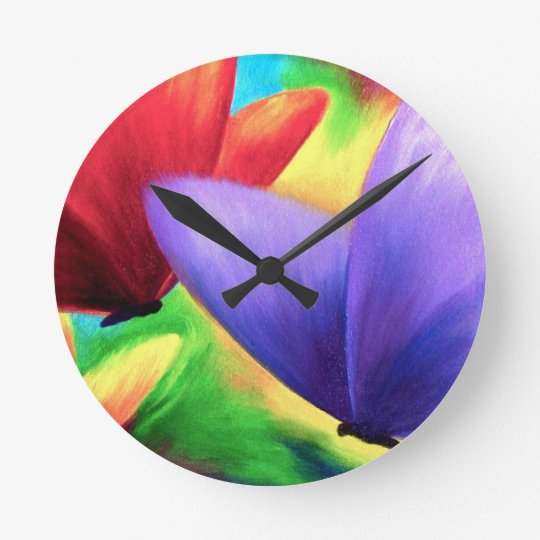 Colourful Butterfly Round (Medium) Wall Clock