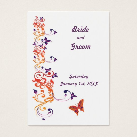 Colourful Butterfly Save the Date for Weddings Business Card