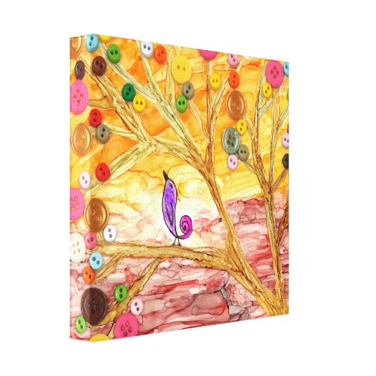 Colourful Button Tree & Little Bird Wrapped Canvas