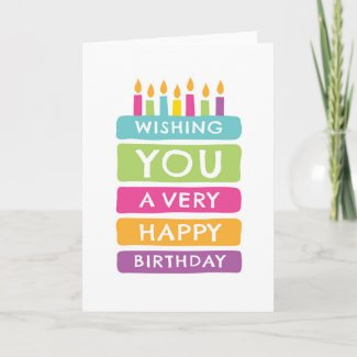 Colourful cake happy birthday cards