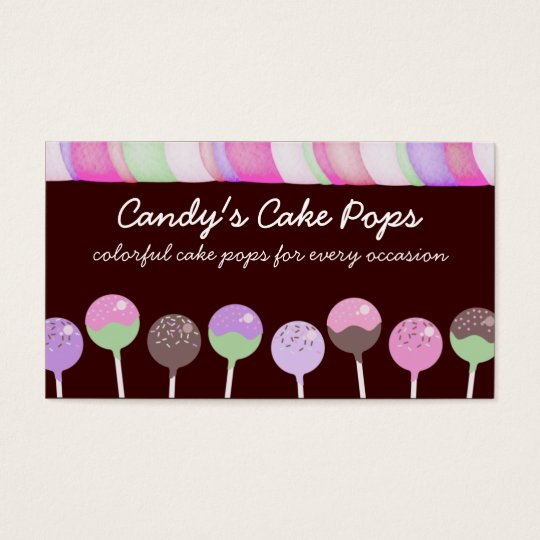 Colourful cake pops baking bakery business cards