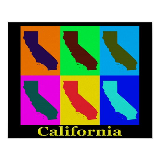 Colourful California State Pop Art Map Poster