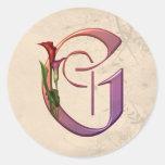 Colourful Calla Initial G Sticker