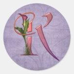 Colourful Calla Initial K Sticker