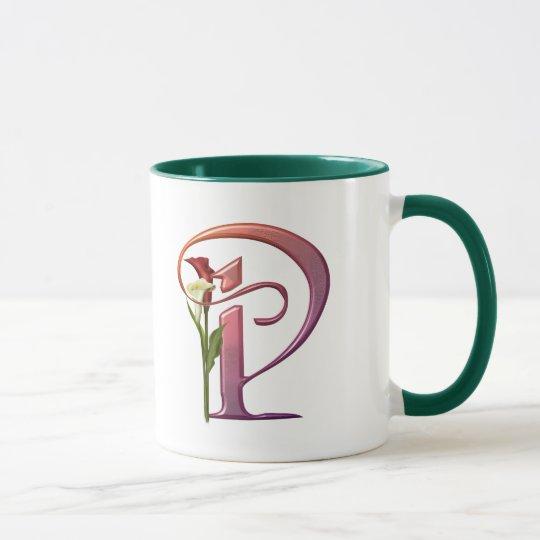 Colourful Calla Initial P Mug