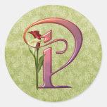 Colourful Calla Initial P Round Sticker