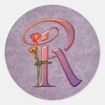 Colourful Calla Initial R Round Stickers