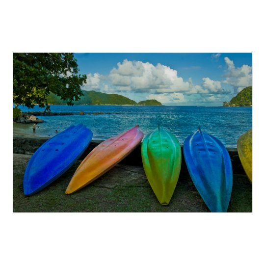 Colourful Canoes On The Beach In Pago Pago