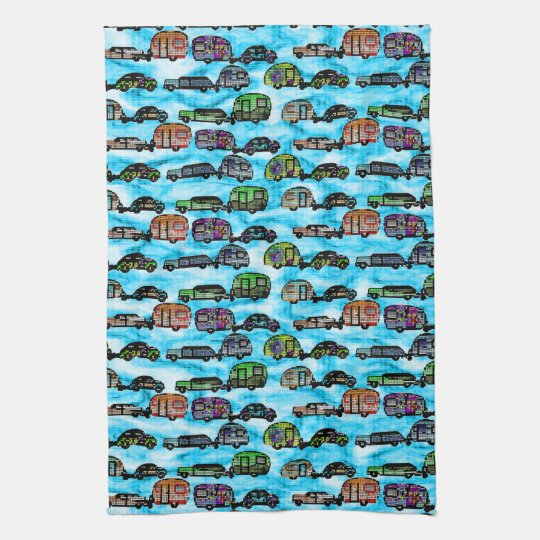 Colourful Caravans With Blue Background Dish Towel