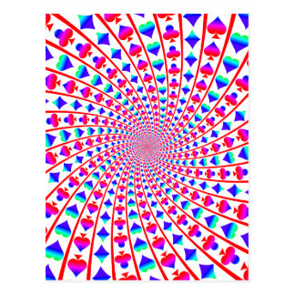 Colourful Card Suits Vortex Postcard