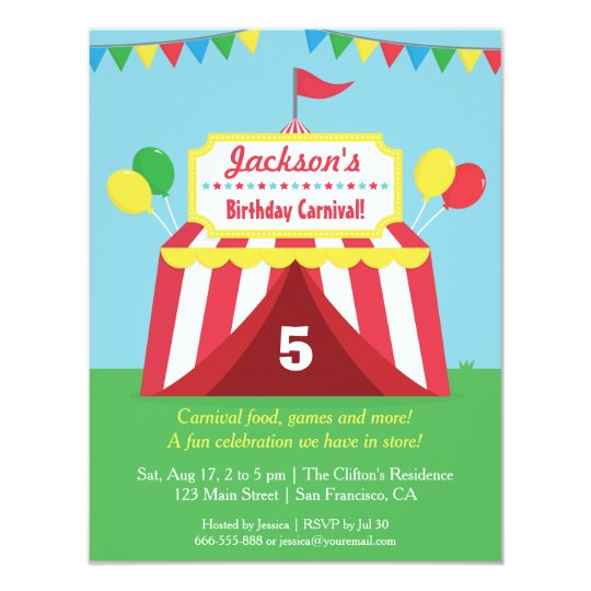 Colourful Carnival Kids Birthday Party Invitation