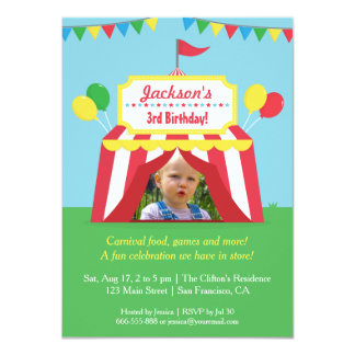 Colourful Carnival Kids Birthday Party Photo 11 Cm X 16 Cm Invitation Card