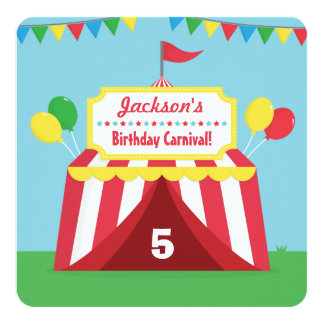 Colourful Carnival Themed Kids Birthday Party 13 Cm X 13 Cm Square Invitation Card