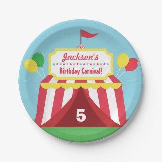 Colourful Carnival Themed Kids Birthday Party 7 Inch Paper Plate