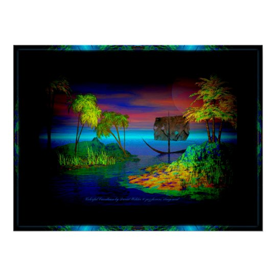 Colourful Carribean By David Wilder w border Poster