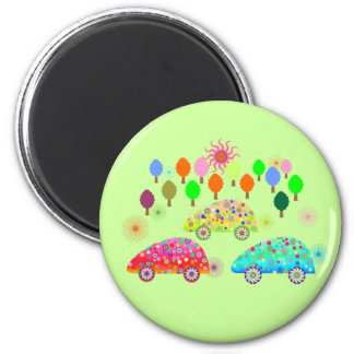 Colourful Cars C1 6 Cm Round Magnet