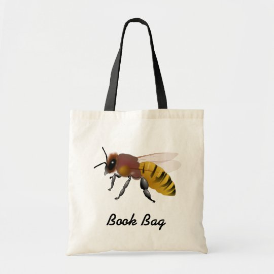 Colourful cartoon brown and yellow hornet wasp bee tote bag