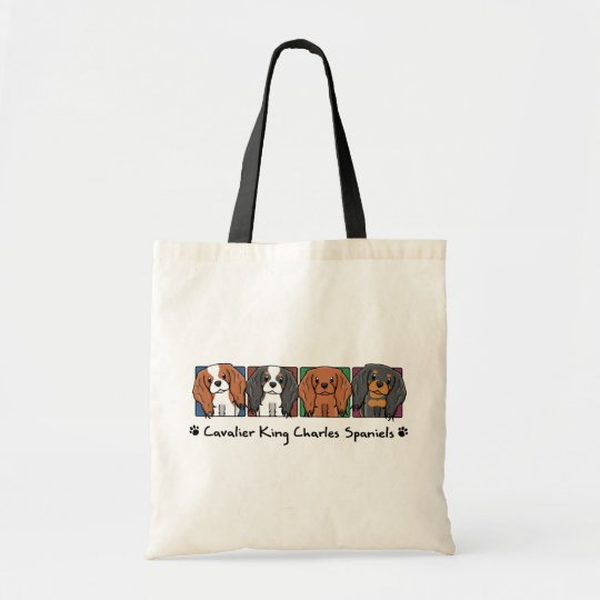 Colourful Cartoon Cavalier King Charles Spaniels Tote Bag