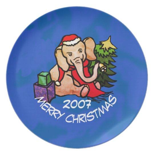 Colourful Cartoon Elephant on Blue Merry Christmas Plate