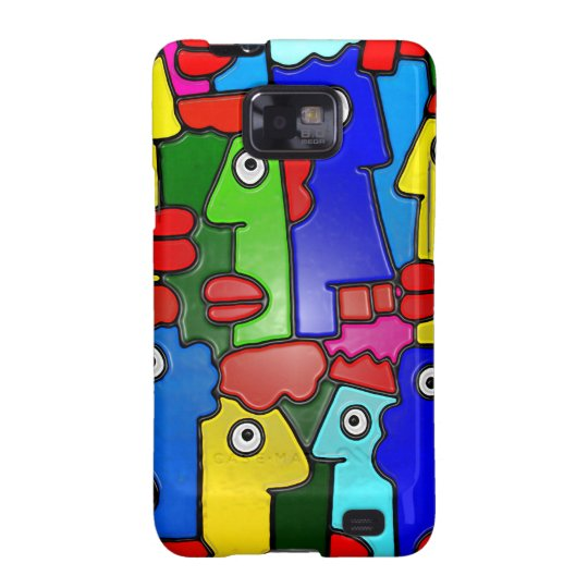 Colourful Cartoon Faces with Fat Lips (m7plast) Galaxy S2 Cover