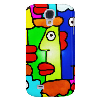 Colourful Cartoon Faces with Fat Red Lips (m6p) Galaxy S4 Case