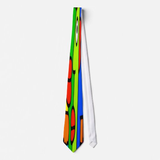Colourful Cartoon Faces with Fat Red Lips Tie