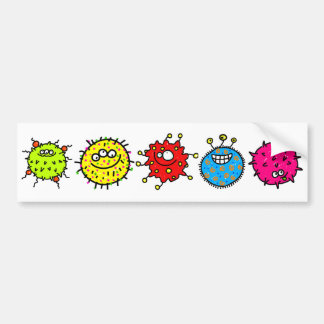Colourful Cartoon Germs Bumper Sticker