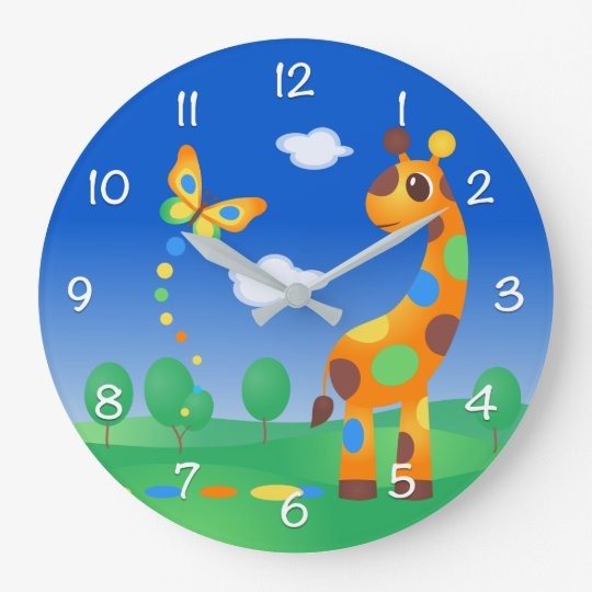 Colourful Cartoon Giraffe and Butterfly Large Clock