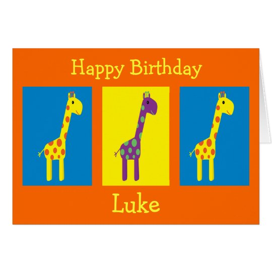 Colourful Cartoon Giraffes Customisable Birthday Card