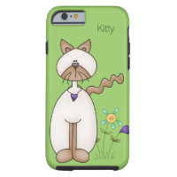 Colourful Cartoon Kitty and Flowers iPhone 6 Case