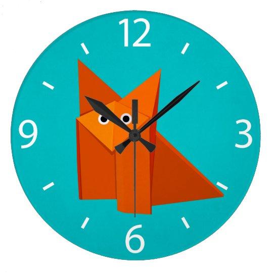 Colourful Cartoon Origami Fox Cute Kids Large Clock