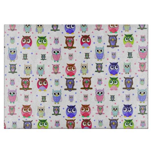 Colourful Cartoon Owls Glass Cutting Board