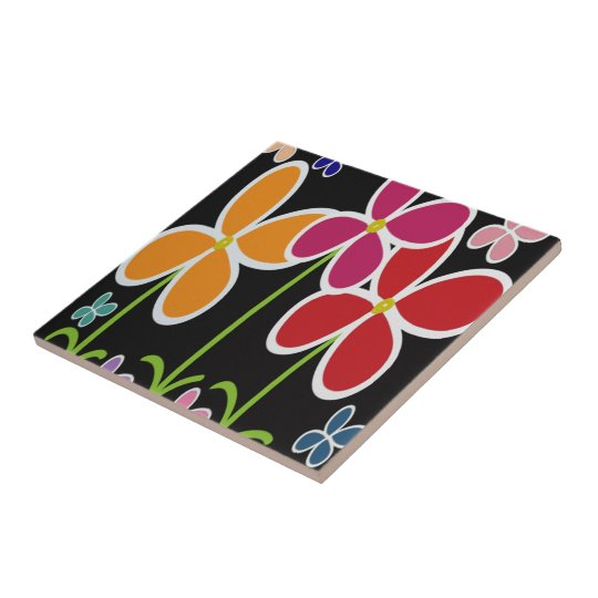 Colourful Cartoon Style Flowers • Small • Tile