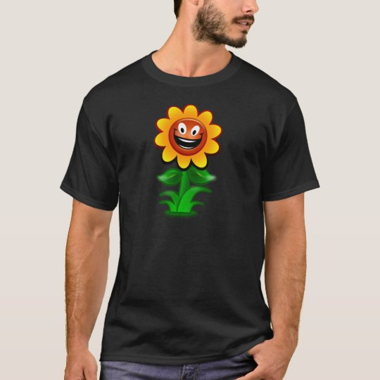Colourful Cartoon Sunflower with Happy Smiling T-Shirt