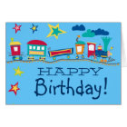 Colourful cartoon train happy birthday card