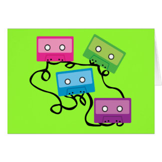 Colourful Cassette Tapes Greeting Card
