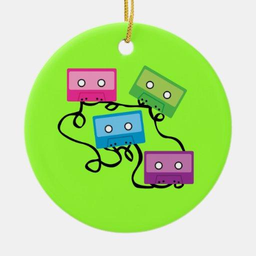 Colourful Cassette Tapes Round Ceramic Decoration