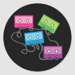 Colourful Cassette Tapes Round Stickers
