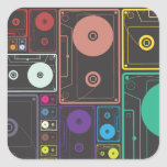 Colourful Cassettes Square Stickers