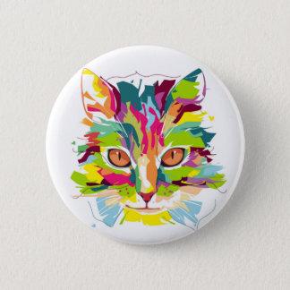 Colourful Cat 6 Cm Round Badge