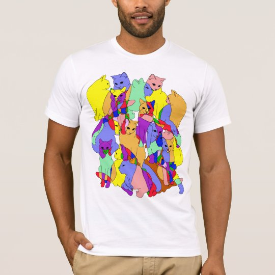Colourful Cat Pattern T-Shirt