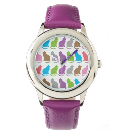 Colourful cat pattern watch