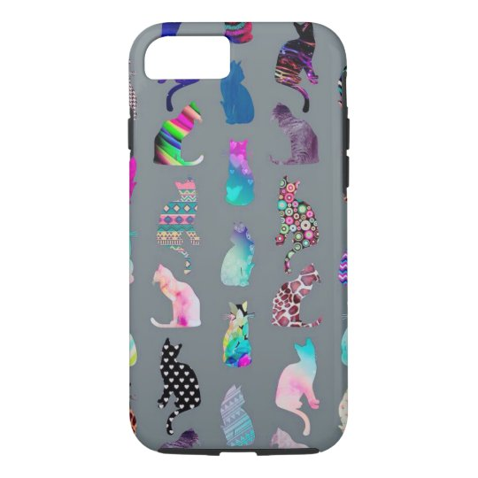 Colourful cat silhouettes on iPhone 7 tough case