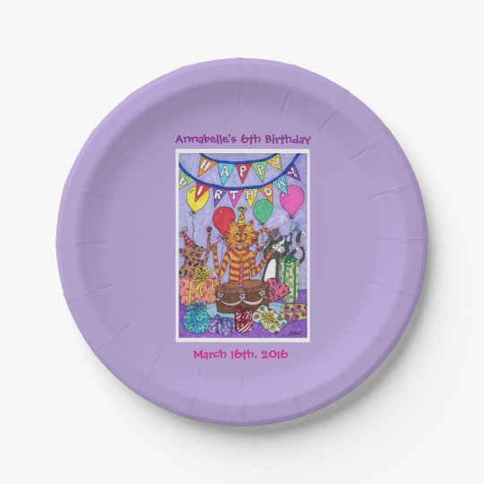 Colourful Cats Birthday Party Paper Plate