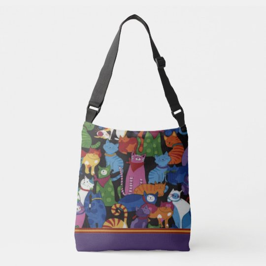 Colourful Cats Cross Body Tote Bag