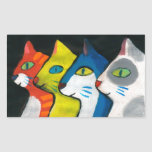 colourful cats drawn in profile rectangular sticker