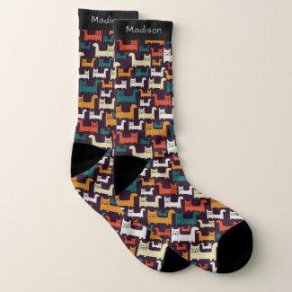 Colourful Cats Pattern custom name socks