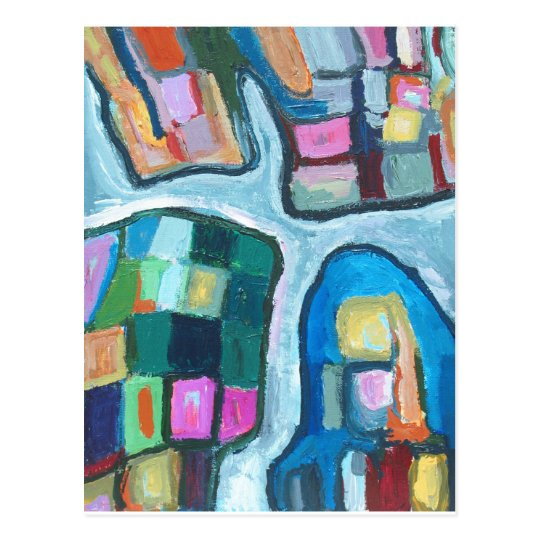 Colourful Cellular Bay (abstract expressionism) Postcard